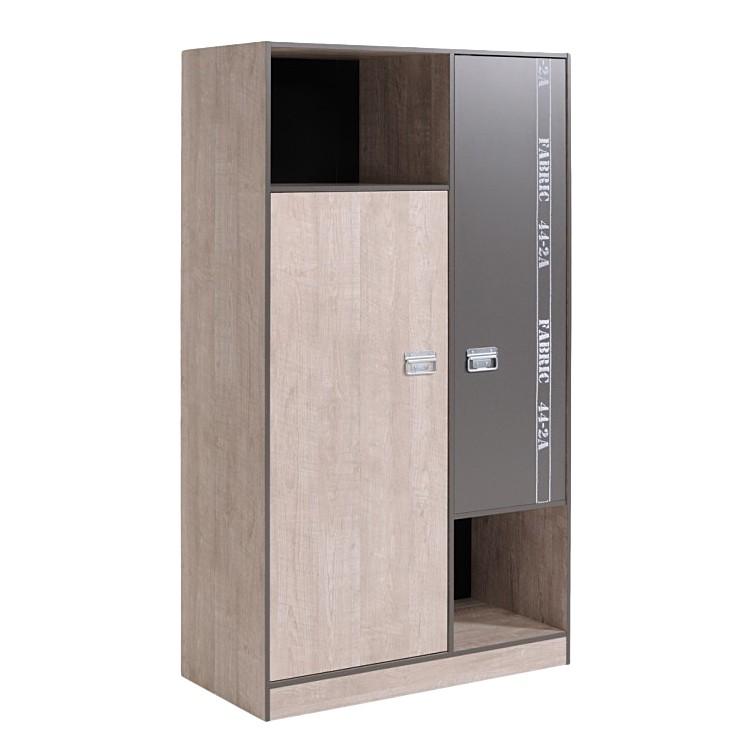 Kledingkast Fabric I (2-deurs) - grijze essenhouten look met decoratieve print, Parisot Meubles