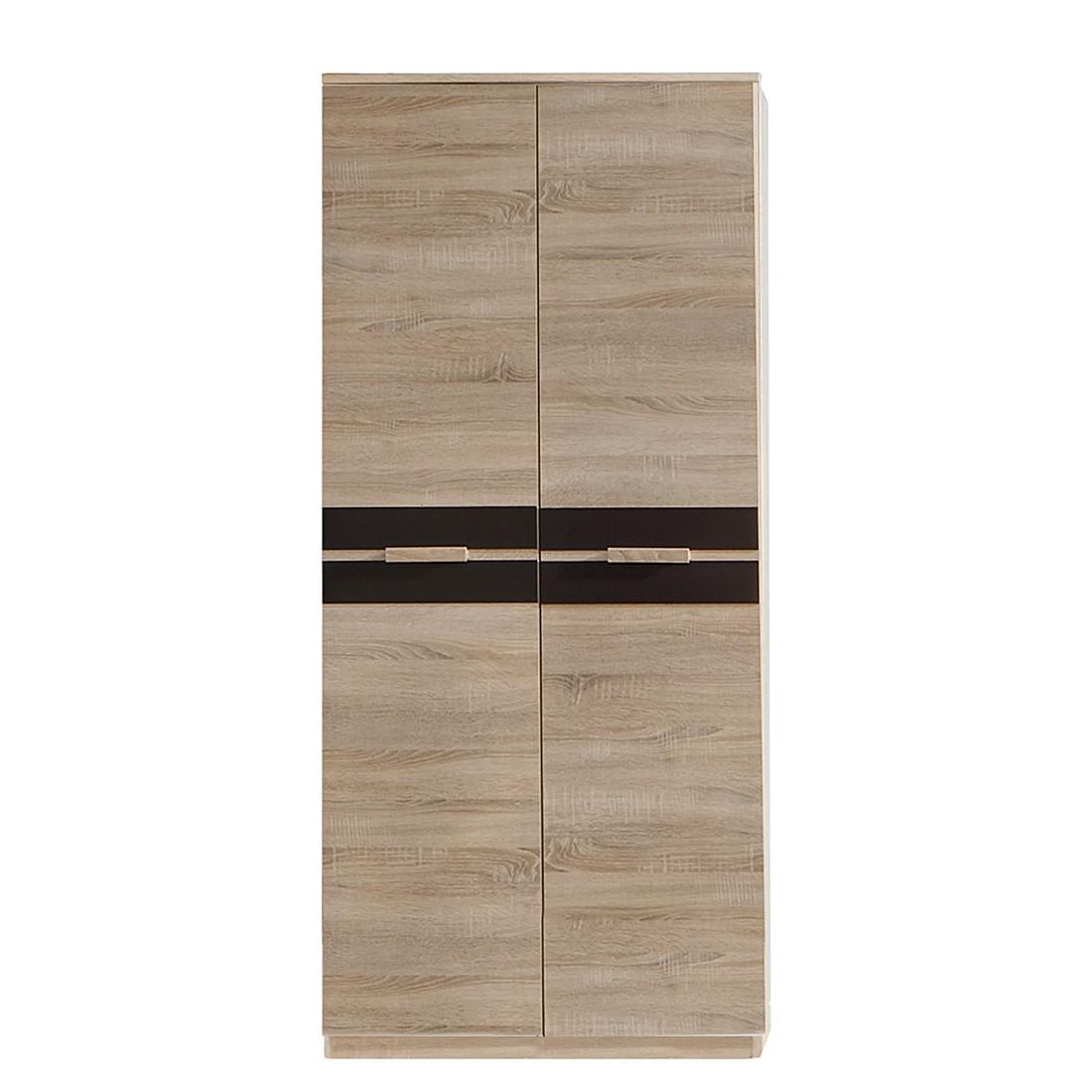 Kledingkast Fame (2-deurs) - grof gezaagde eikenhouten look/lavasteenkleurig, Wimex