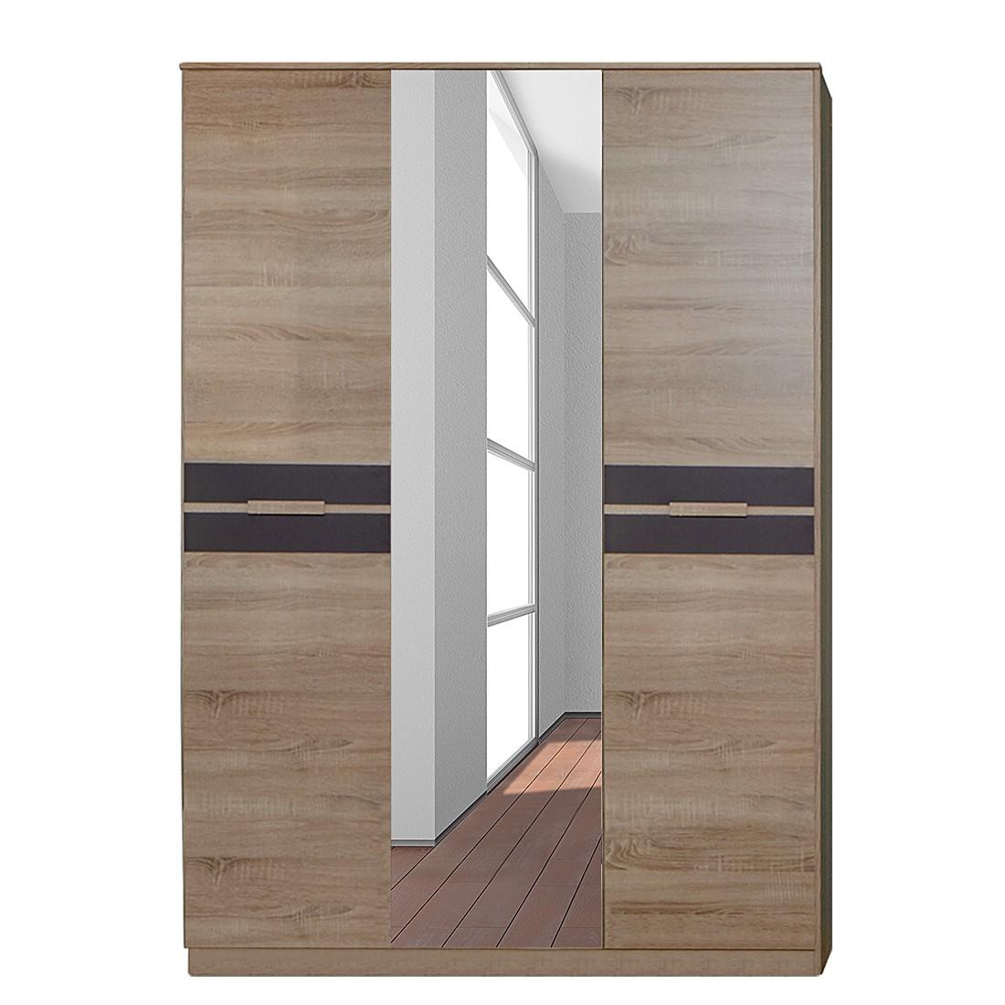 Kledingkast Fame (3-deurs) - grof gezaagde eikenhouten look/lavasteenkleurig, Wimex