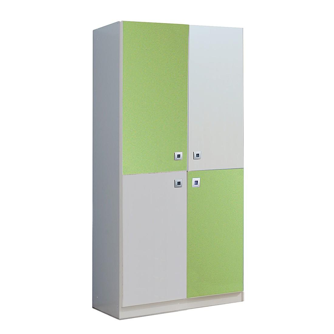 Armoire à vêtements Sunny I - Blanc alpin / Vert pomme, Wimex