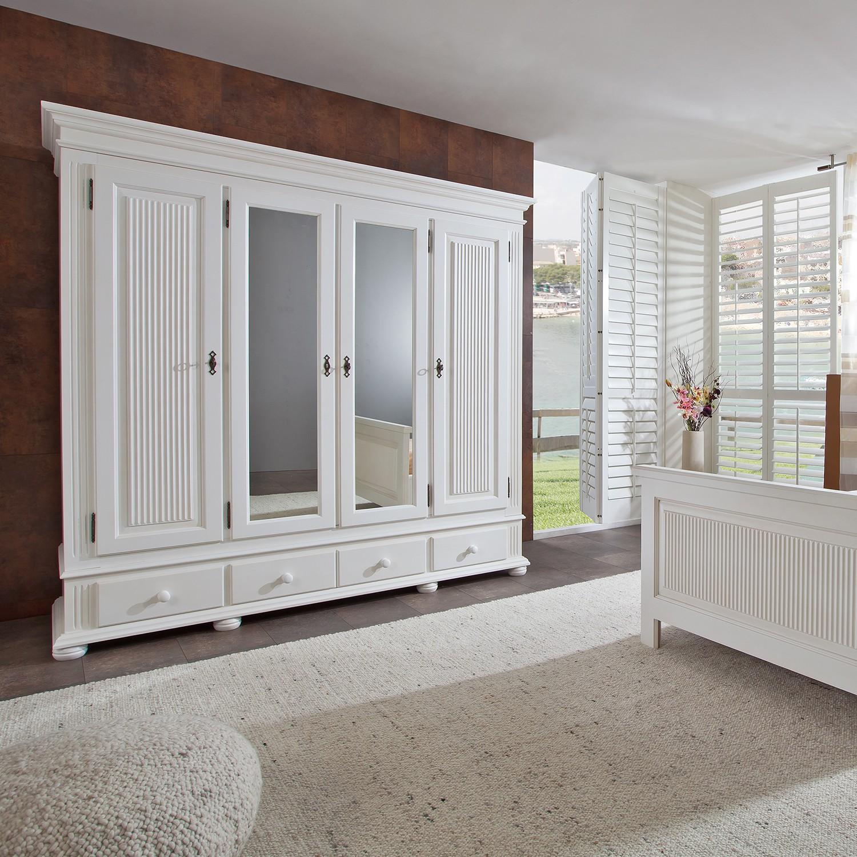 Armoire à portes battantes Friedrich IV - Épicéa massif - Blanc, Landhaus Classic