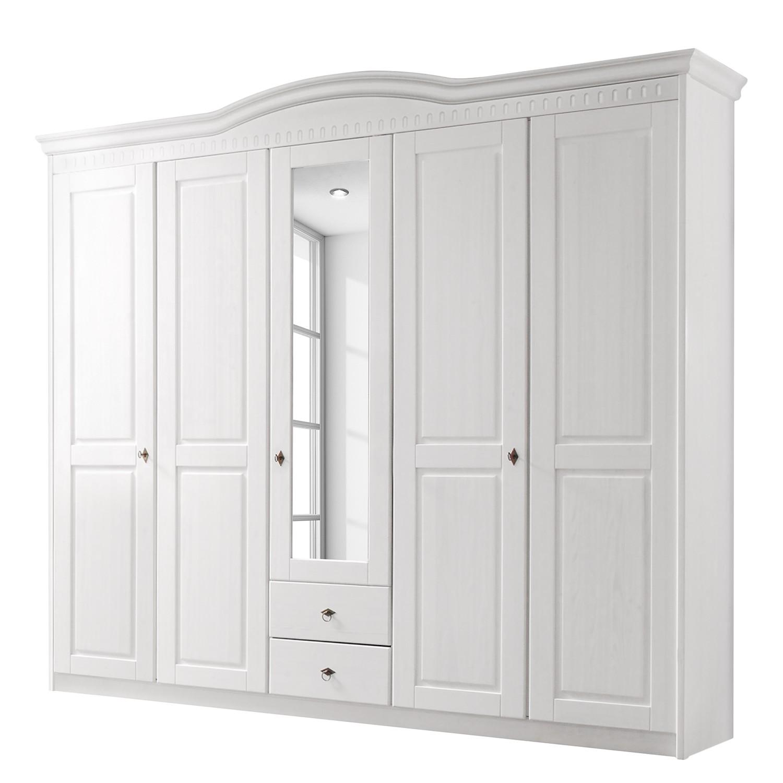 Armoire à portes battantes Greven - Pin massif - Blanc, Landhaus Classic