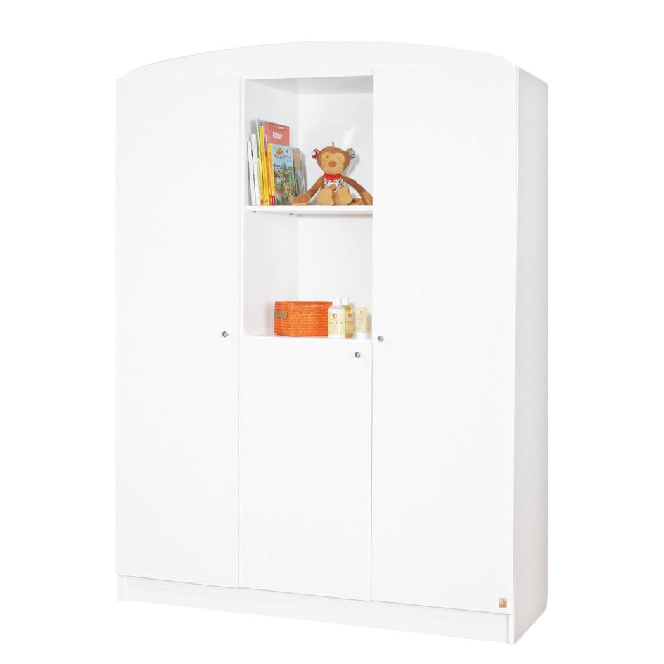 Armoire à vêtements Jil - 3 portes - Pin massif - Vernis blanc, Pinolino