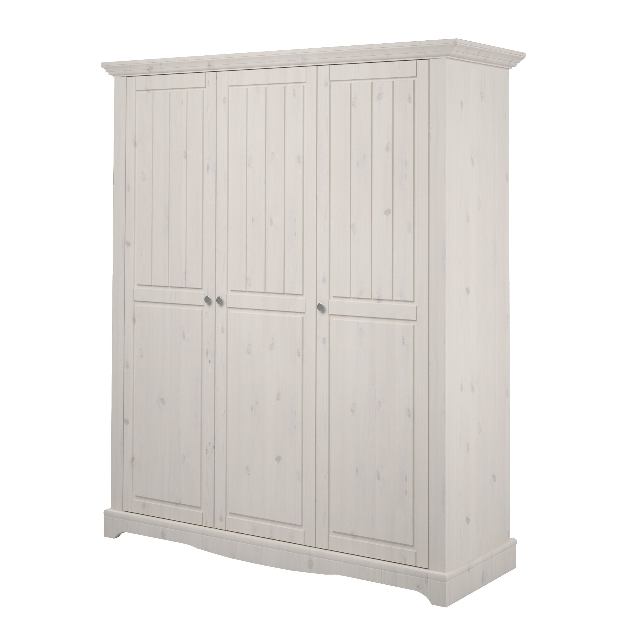 Armoire à  vêtements Karlotta (3 portes) - Pin / Blanc lavé - White Washed, Steens