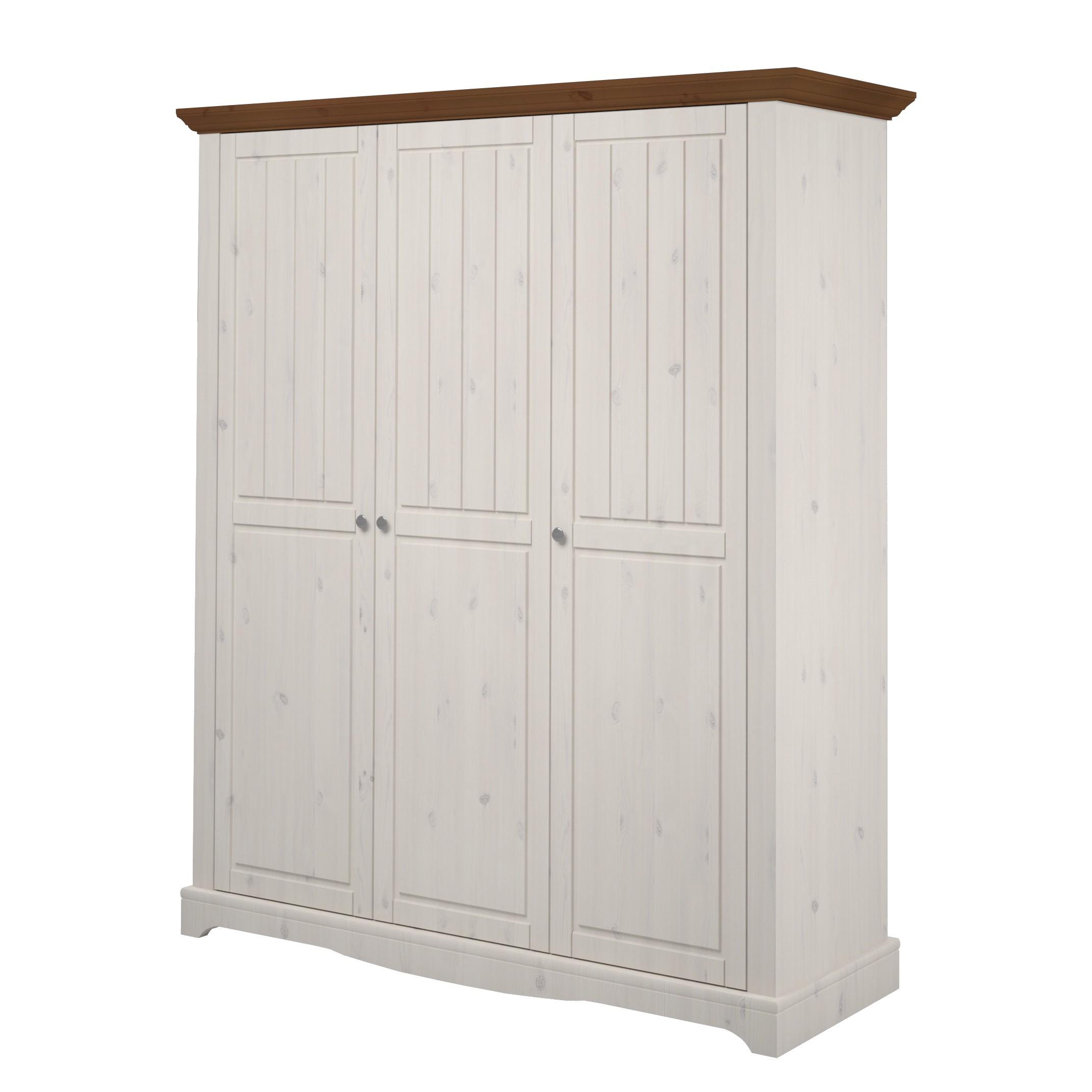 Kledingkast Karlotta 3 deurs   grenenhout white wash   White Washed provence_ Steens