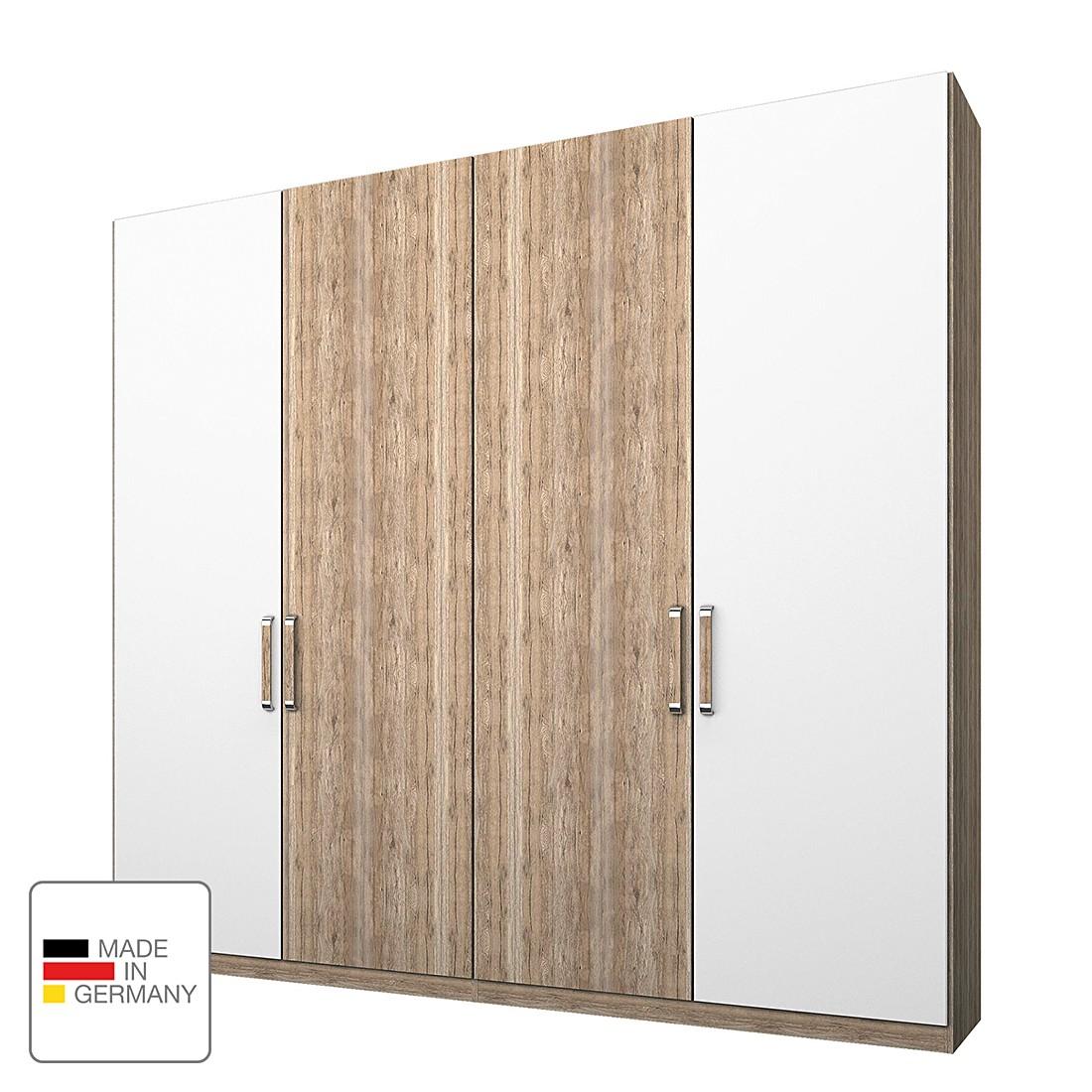 Armoire à vêtements Lea - Imitation chêne clair de San Remo / Blanc Alpin - 200 cm (4 portes) - 2 p