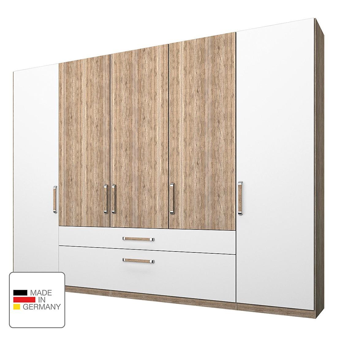 Armoire à vêtements Lea - Avec tiroirs Imitation chêne clair de San Remo / Blanc Alpin - 250 cm (5