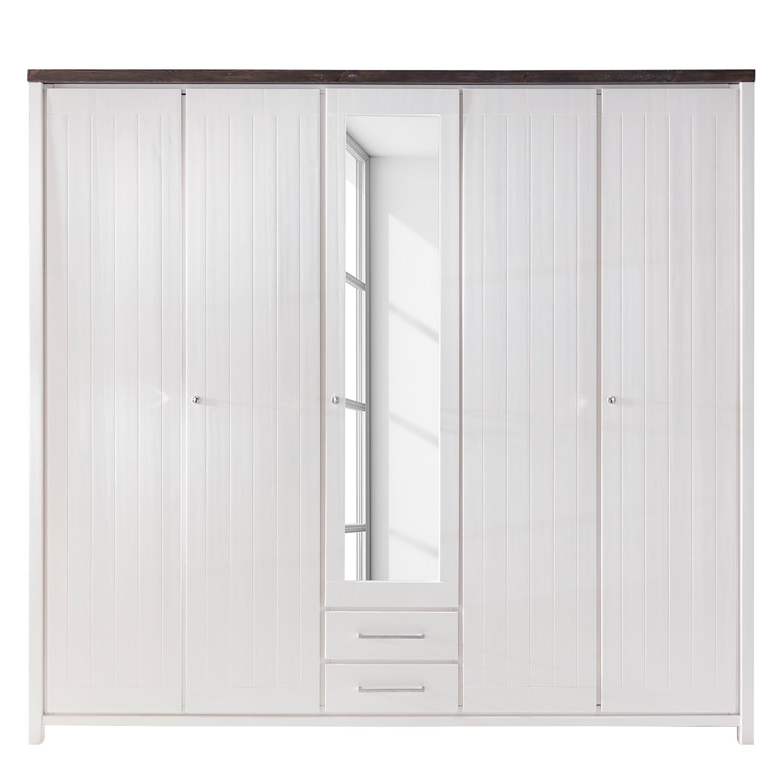 Armoire à portes battantes Lillerod (5 portes) - Pin massif - Blanc / Marron, Landhaus Classic