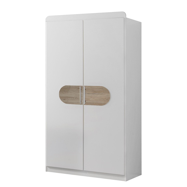 Armoire à vêtements Lilly I - Blanc alpin / Imitation chêne de San Remo - 2 portes, Wimex