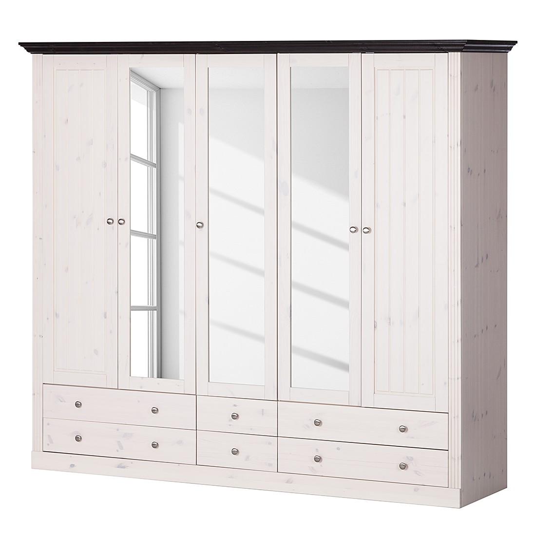 Armoire à vêtements Lyngby I - Pin massif - Blanc / Gris minéral - Blanc / Wengé, Maison Belfort