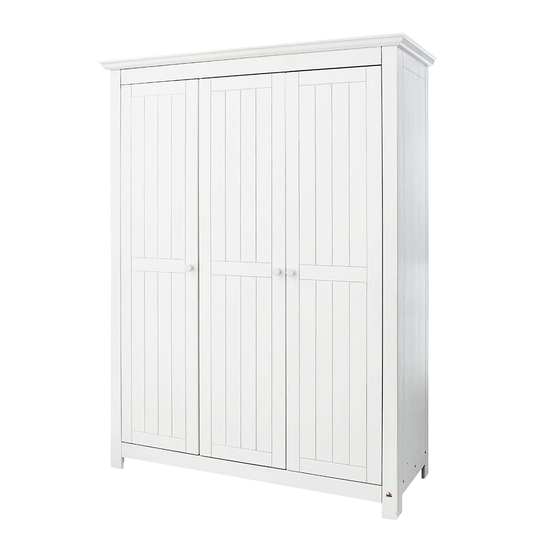Armoire à portes battantes Nina Kids - Pin massif - Blanc - 142 cm, Pinolino