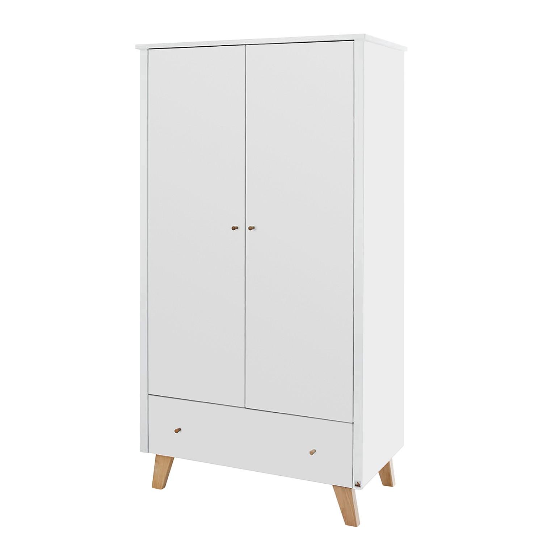 Drehtürenschrank Pan Kids - Weiß / Eiche - 100 cm (2-türig), Pinolino