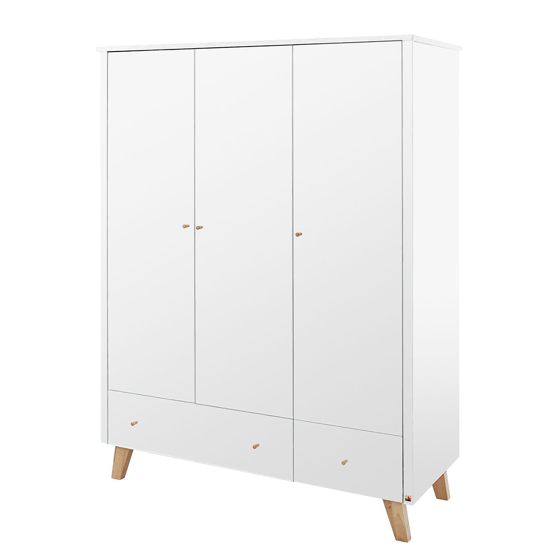 Armoire à portes battantes Pan Kids - Blanc / Chêne - 145 cm (3 portes), Pinolino