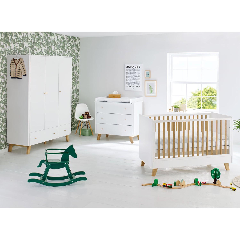 Ensemble de chambre de bébé Pan Kids (3 éléments) - Blanc / Chêne - 145 cm (3 portes), Pinolino