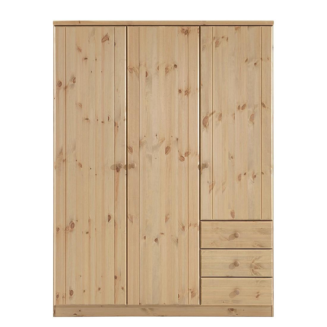 Armoire à vêtements Ribe - Epicéa naturel lessivé et teinté - 150 cm (3 portes), Steens
