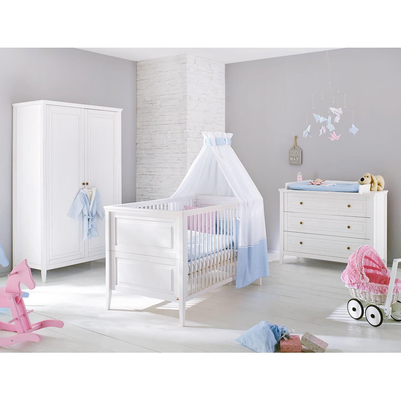 Ensemble de chambre de bébé Smilla Kids (3 éléments) - Pin massif - Blanc - 122 cm (2 portes), Pinol