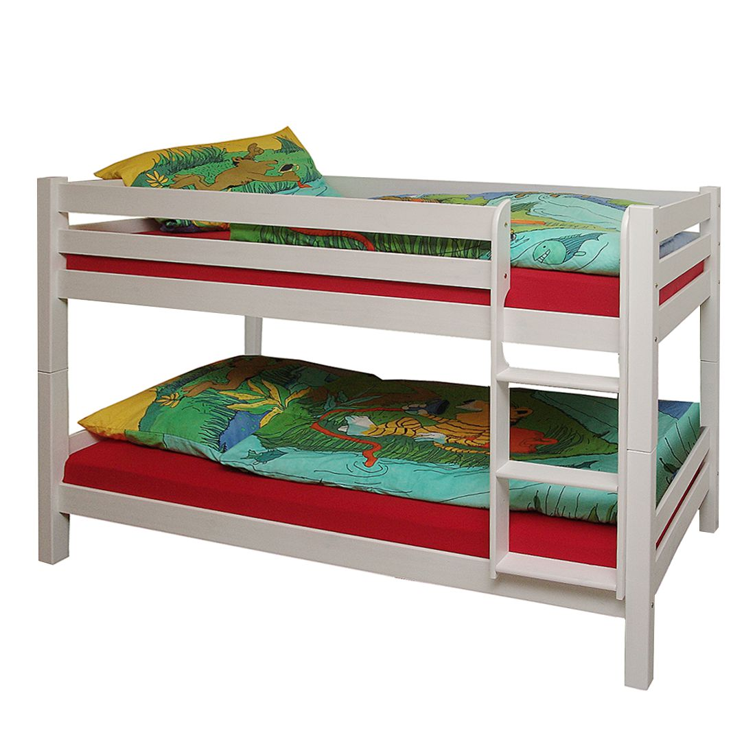 Stapelbed Knuth - massief grenenhout wit gelakt Hoogslaper met bedlades, Kids Club Collection