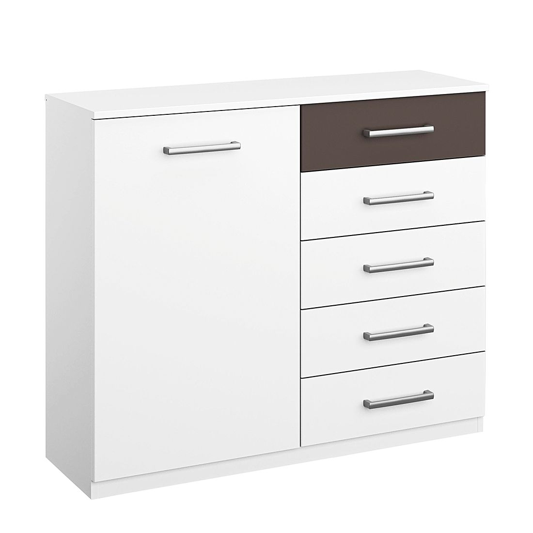 Commode Barcelona I - Blanc alpin / Gris lave, Rauch Packs