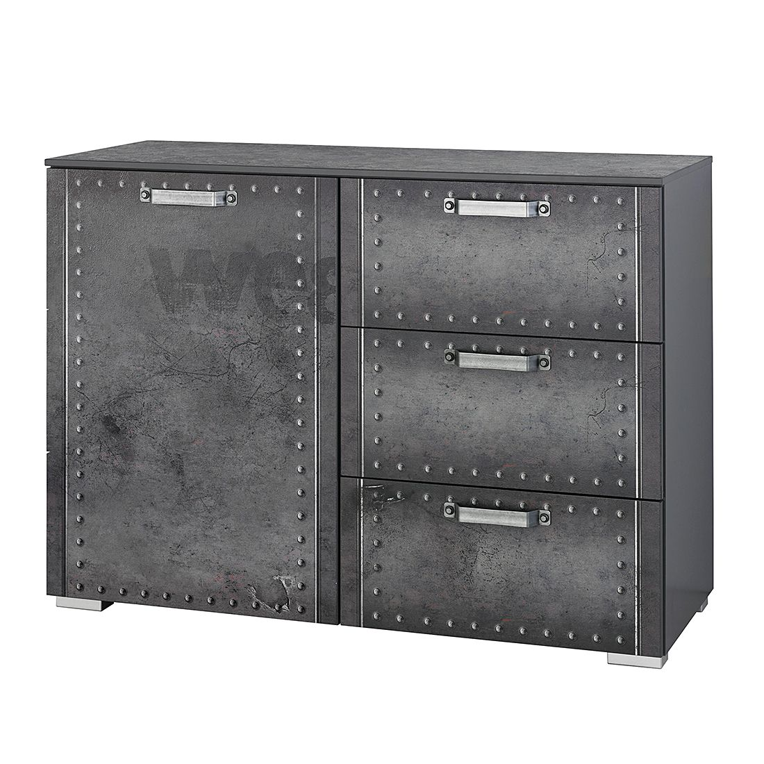 Commode Workbase I - Aspect imprimé industriel / Gris graphite, Rauch Select