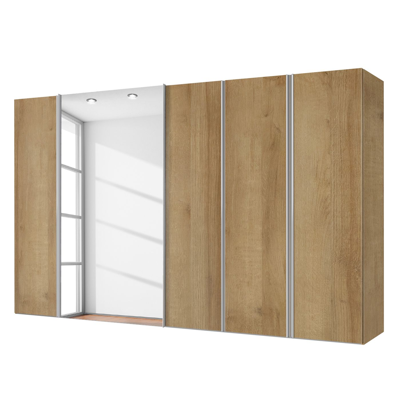 Combikast Hayfork - Riviera eikenhouten look/Spiegelglas - 300cm (5-deurs), Express Möbel