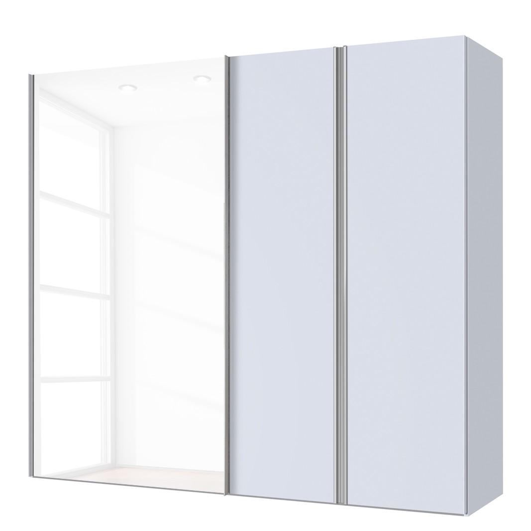 Combikast Hayfork - Zijdegrijs/Wit glas - 200 cm (3-deurs), Express Möbel