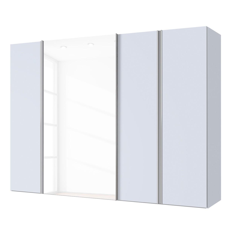 Armoire mixte Hayfork - Gris soie/ Verre blanc - 250 cm (4 portes), Express Möbel