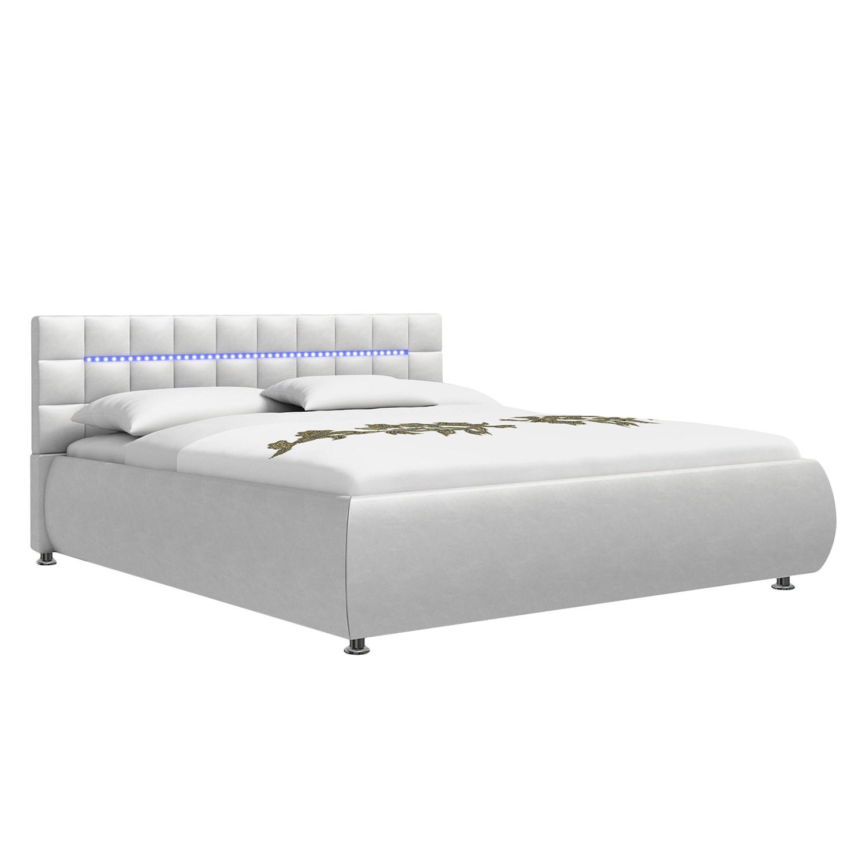 EEK A+, Lit capitonné confort Topi (éclairage LED fourni) - Cuir synthétique blanc - 180 x 200cm, Be