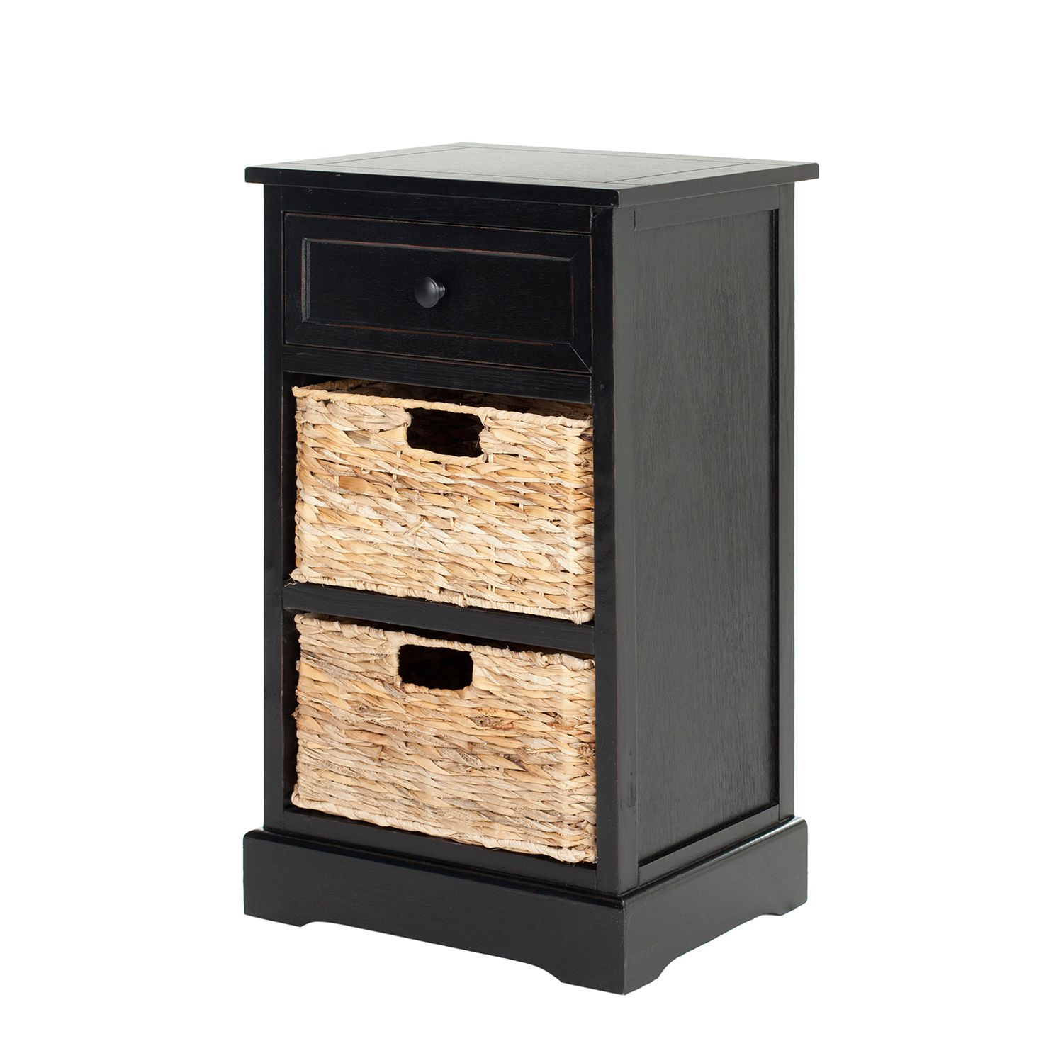 Commode Carrie - Pin massif - Noir / Beige, Safavieh