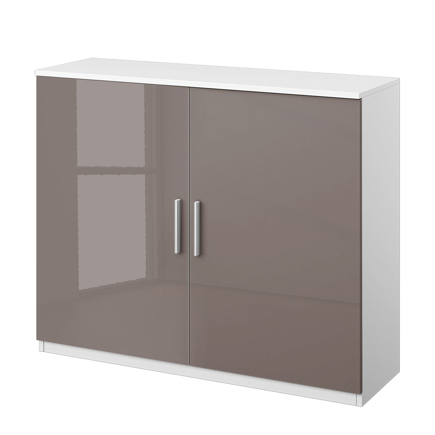 Home 24 - Commode celle i - blanc alpin / gris lava brillant, rauch packs
