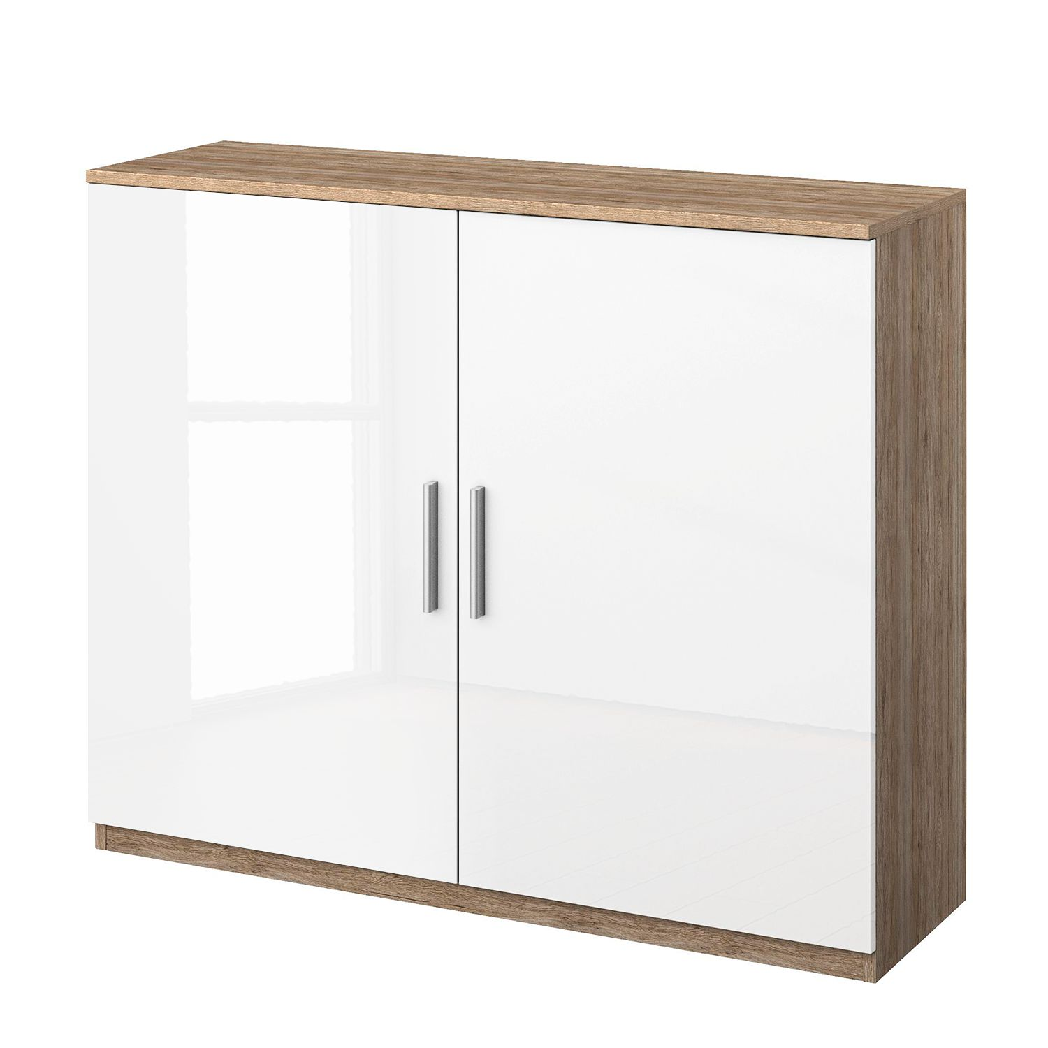 Commode Celle I - Blanc brillant / Imitation chêne de San Remo clair, Rauch Packs