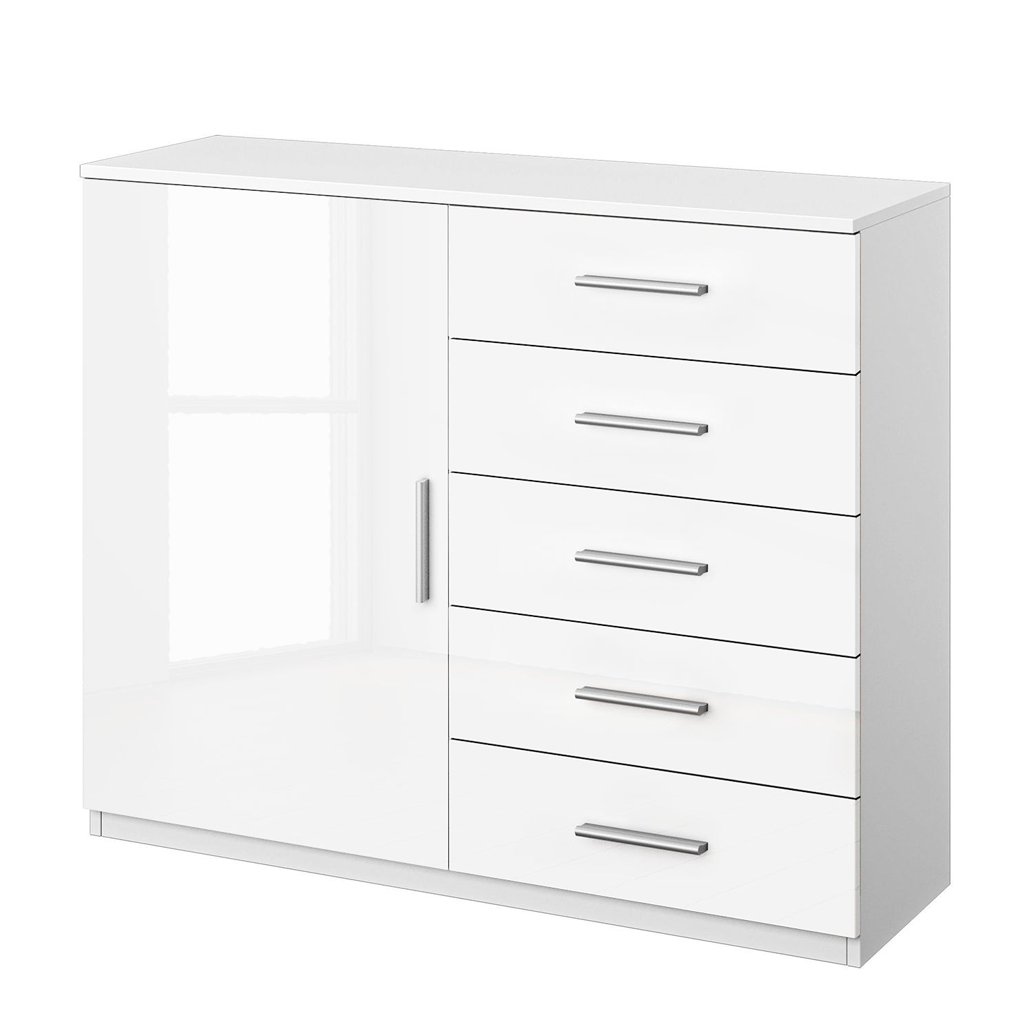 Commode Celle II - Blanc alpin / Blanc brillant, Rauch Packs
