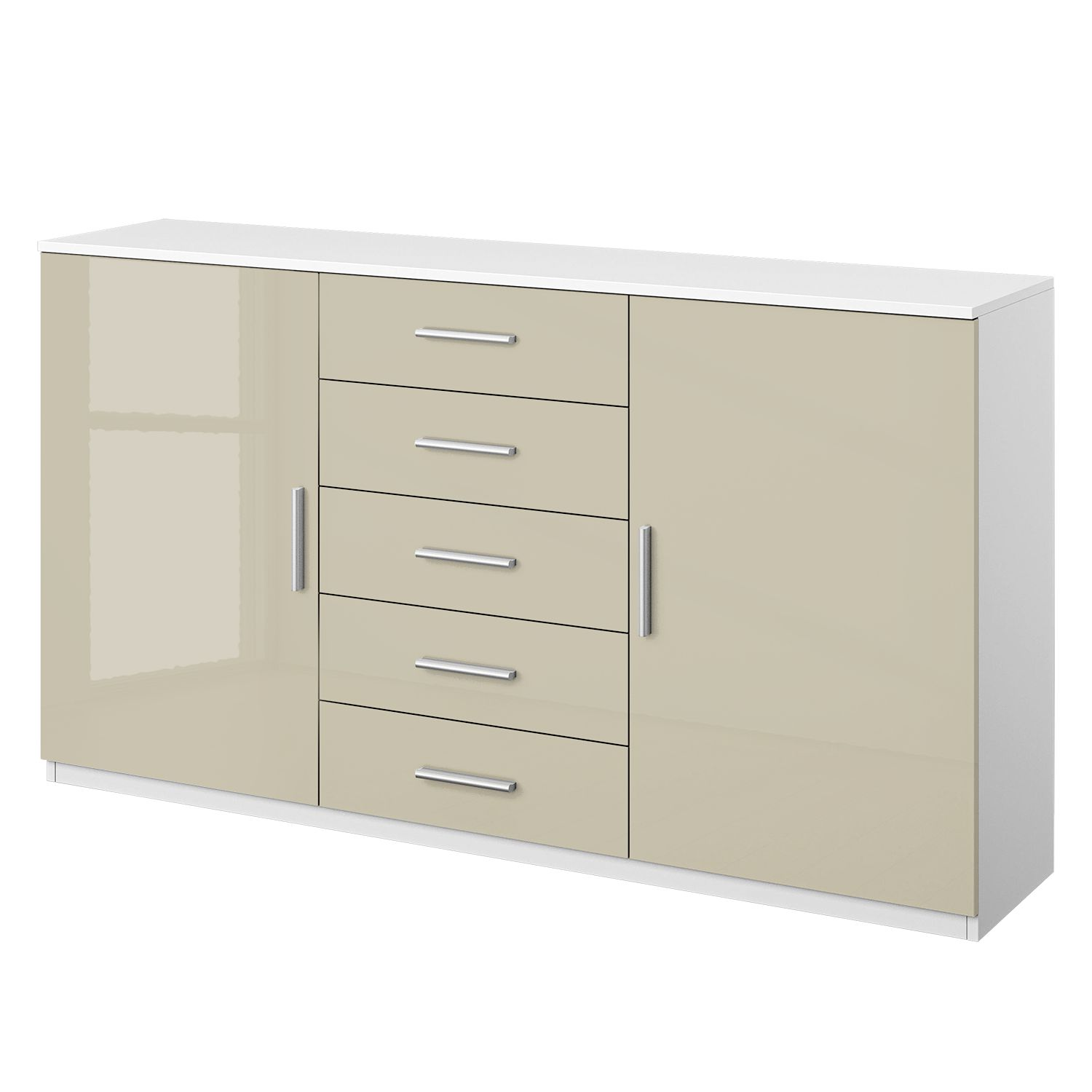Commode Celle III - Blanc alpin / Gris sable brillant, Rauch Packs