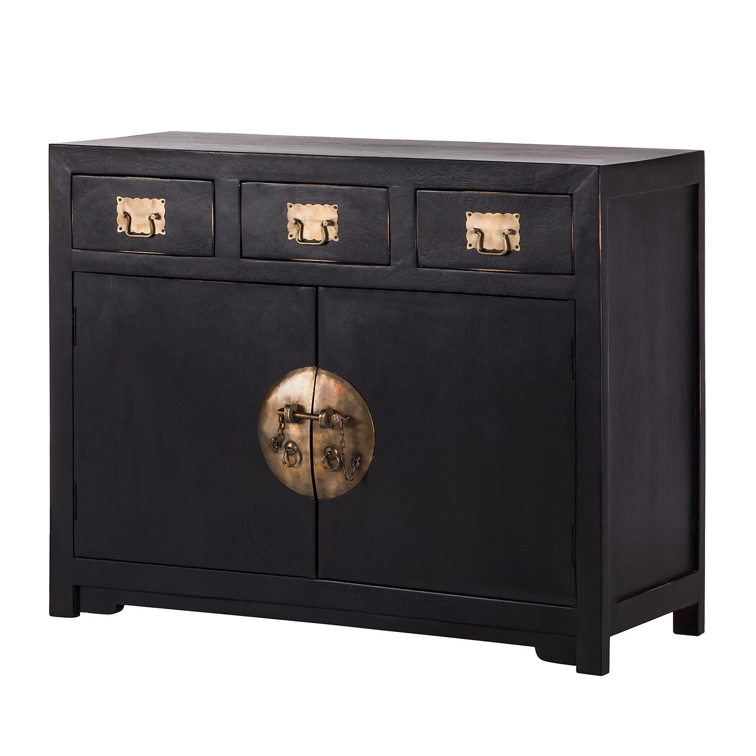 Commode China Town - Manguier partiellement massif - Noir, Red Living