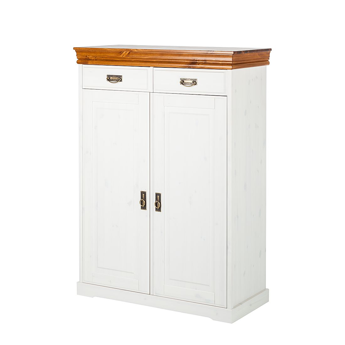 Commode Formentera - Pin massif - Blanc / Marron, Maison Belfort