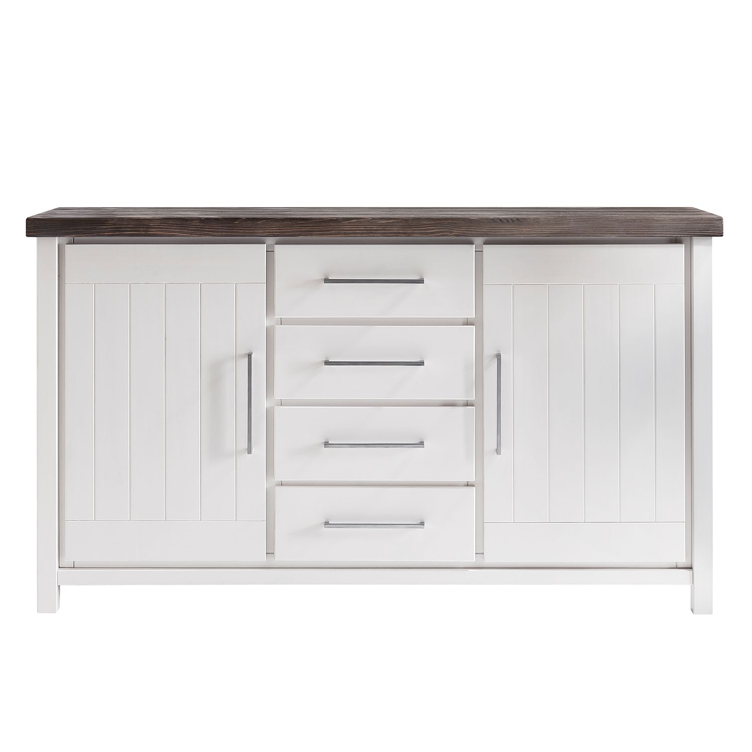 Commode Lillerod - Pin massif - Blanc / Marron, Landhaus Classic