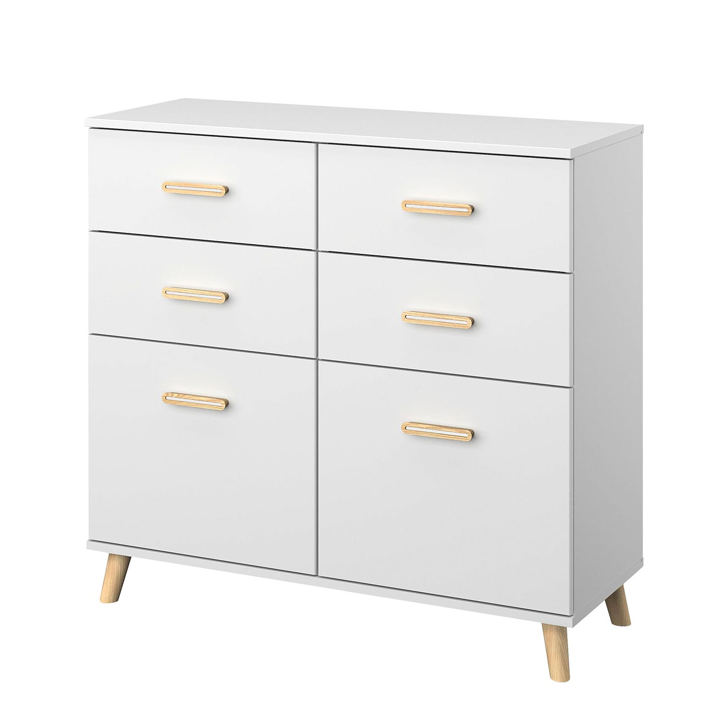 Commode Annett - Blanc alpin / Frêne de Coimbra - 93 cm, Rauch Packs