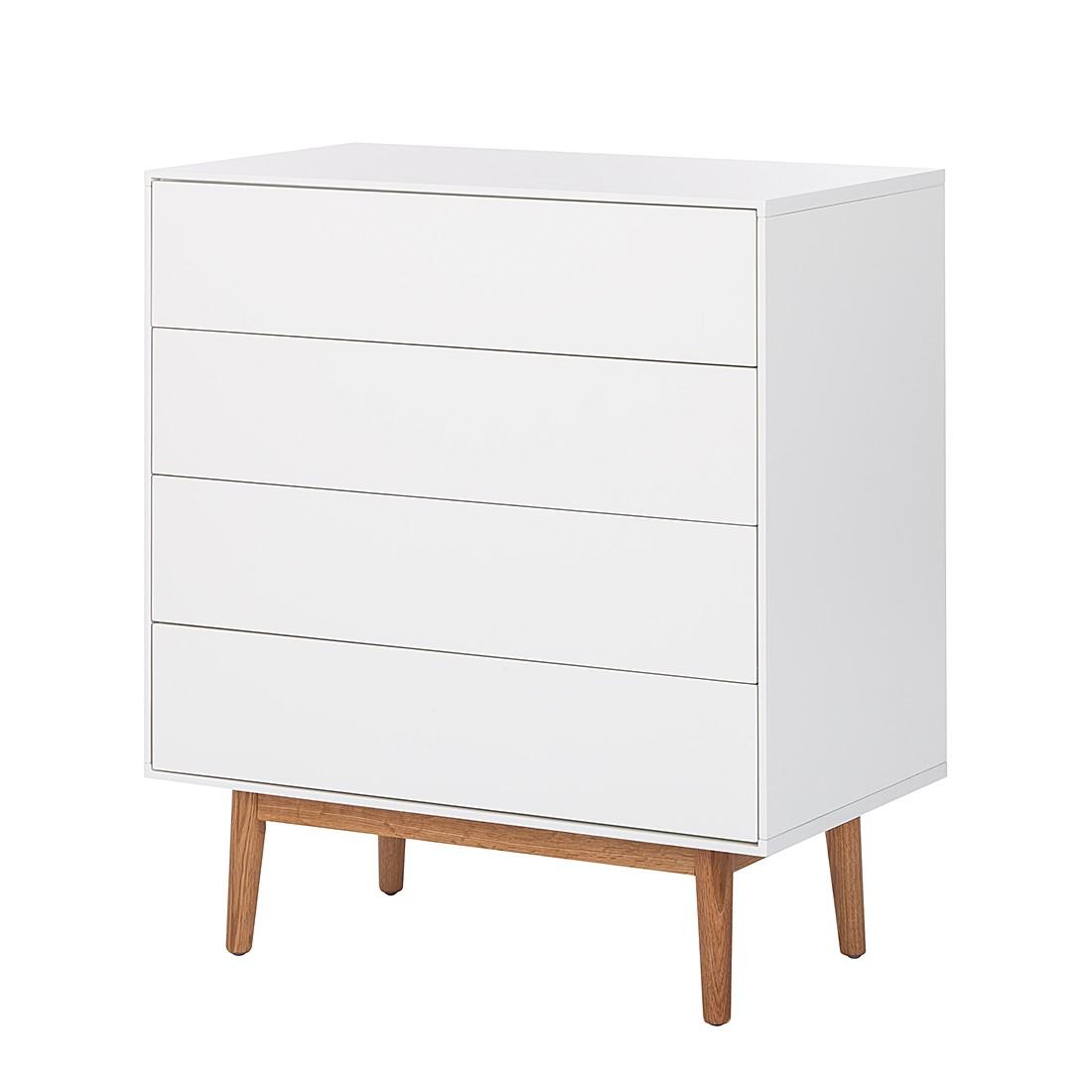 Comodino Lindholm - Parzialmente in legno massello di quercia Bianco Cassettiera I Bianco/Quercia, Morteens