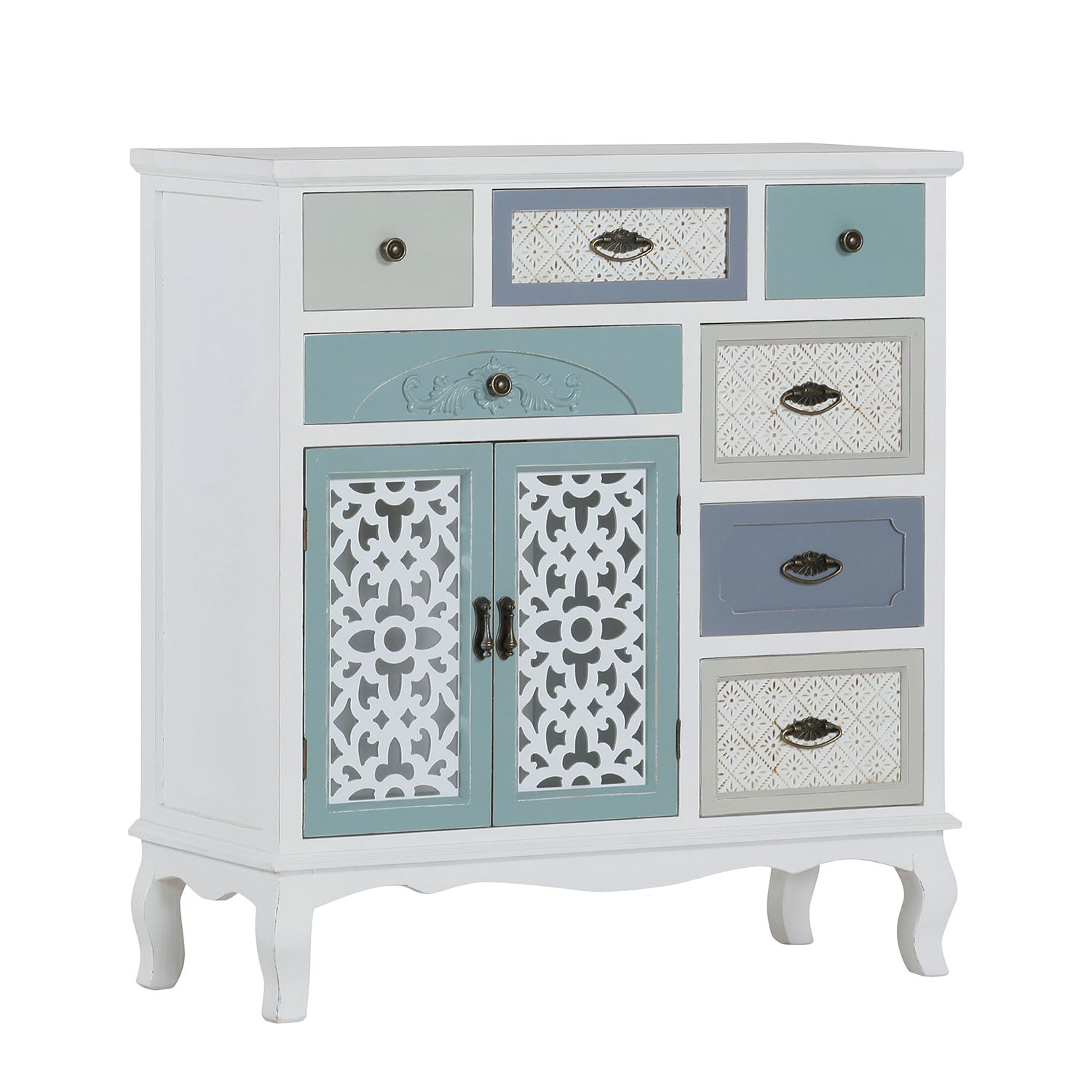 Home 24 - Commode charlo - sapin partiellement massif - blanc vintage, maison belfort