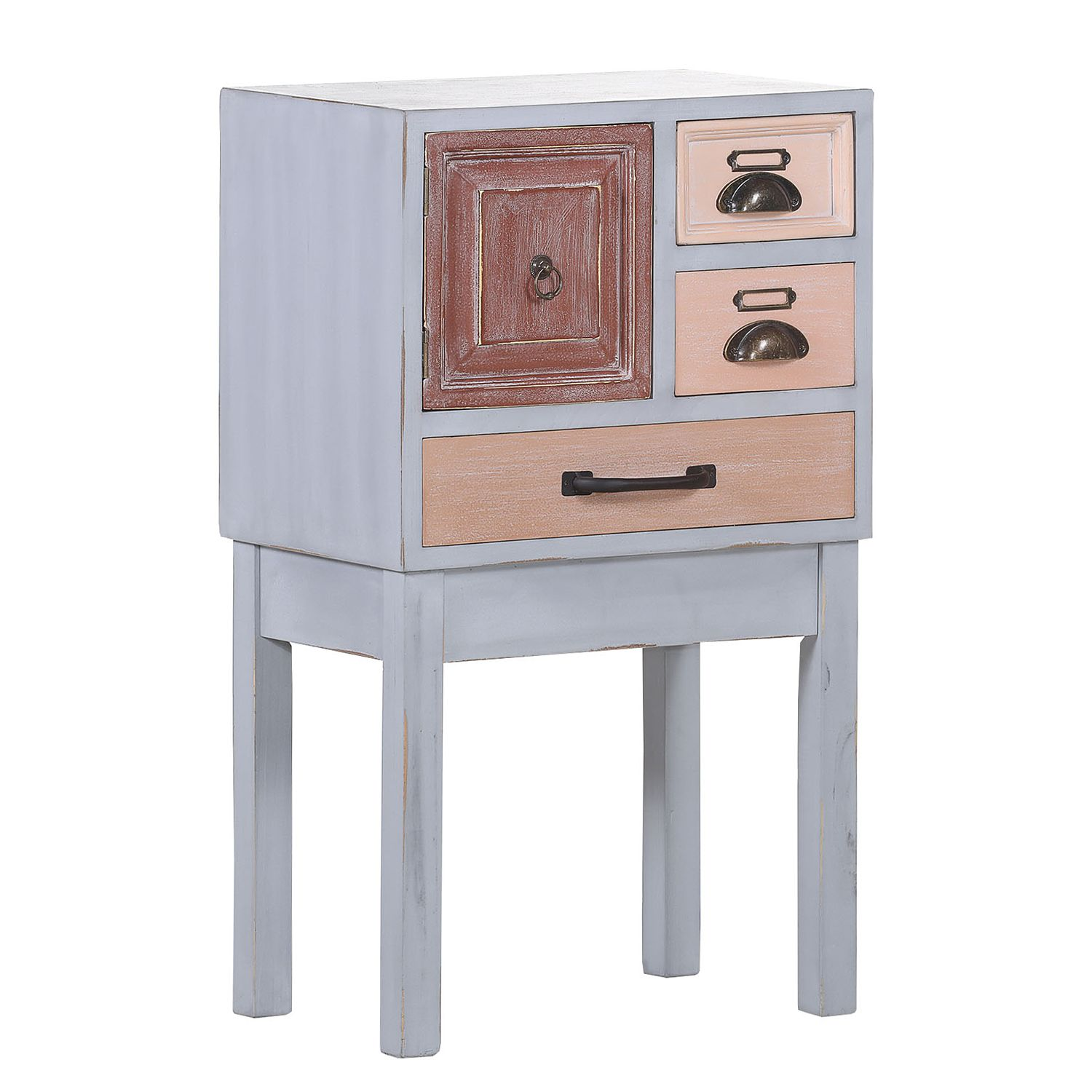 Commode Malden III - Sapin partiellement massif - Vieux rose / Gris clair, ars manufacti