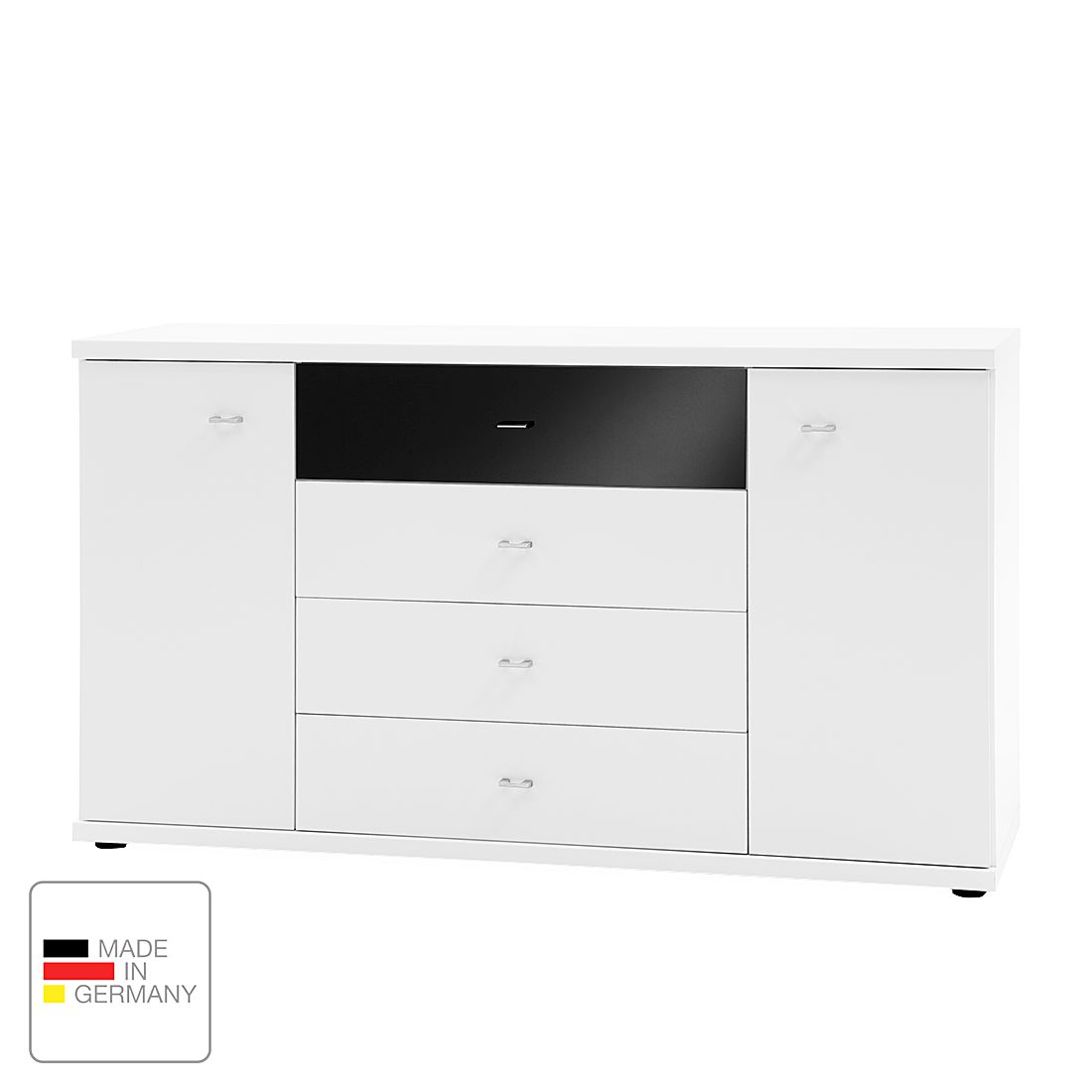 Commode Miro - Blanc alpin / Noir, Wiemann