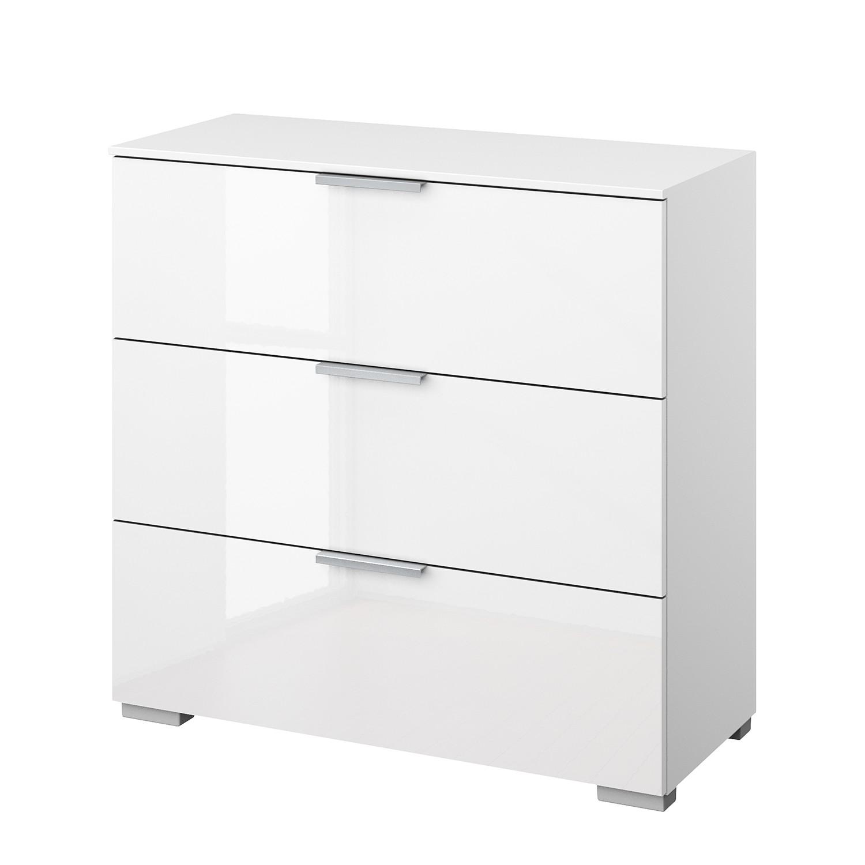 Kommode SKØP II - Alpinweiß / Hochglanz Weiß - Aluminium