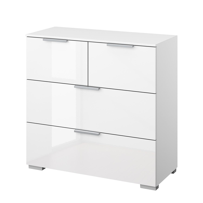 Kommode SKØP III - Alpinweiß / Hochglanz Weiß - Aluminium