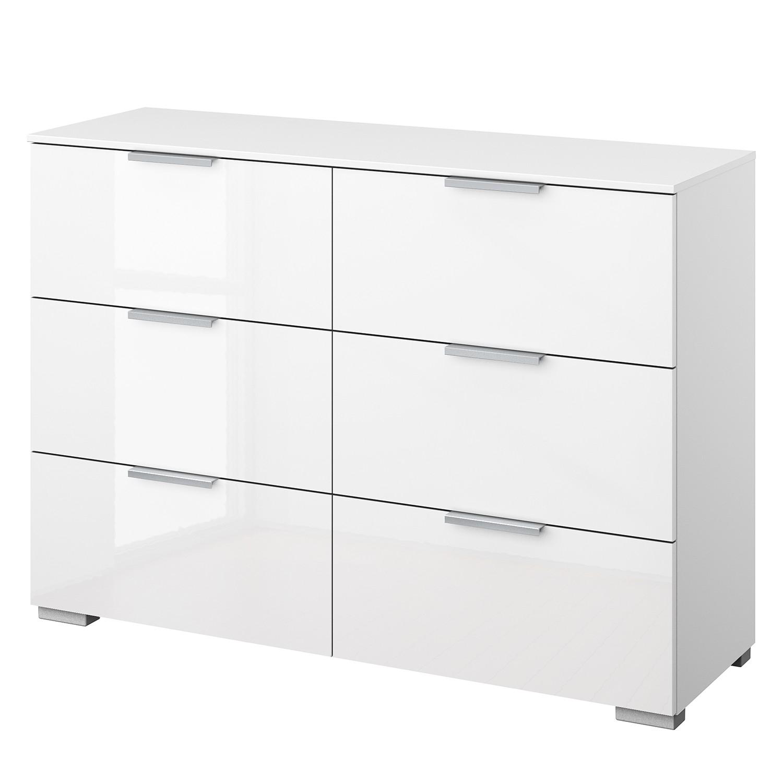Kommode SKØP V - Alpinweiß / Hochglanz Weiß - Aluminium