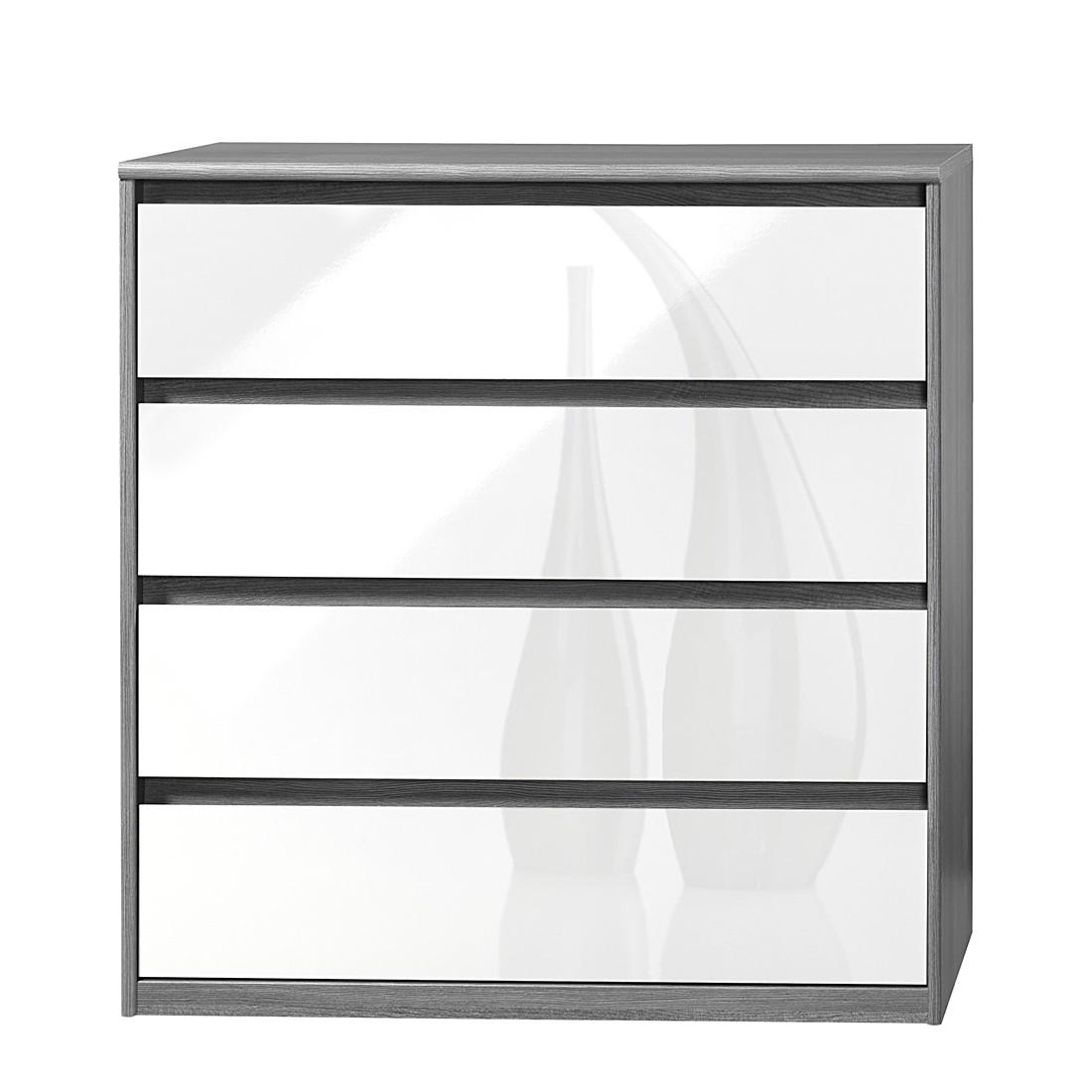 Cassettiera Soft Smart III - Effetto quercia color argento/Bianco lucido, Cs Schmal
