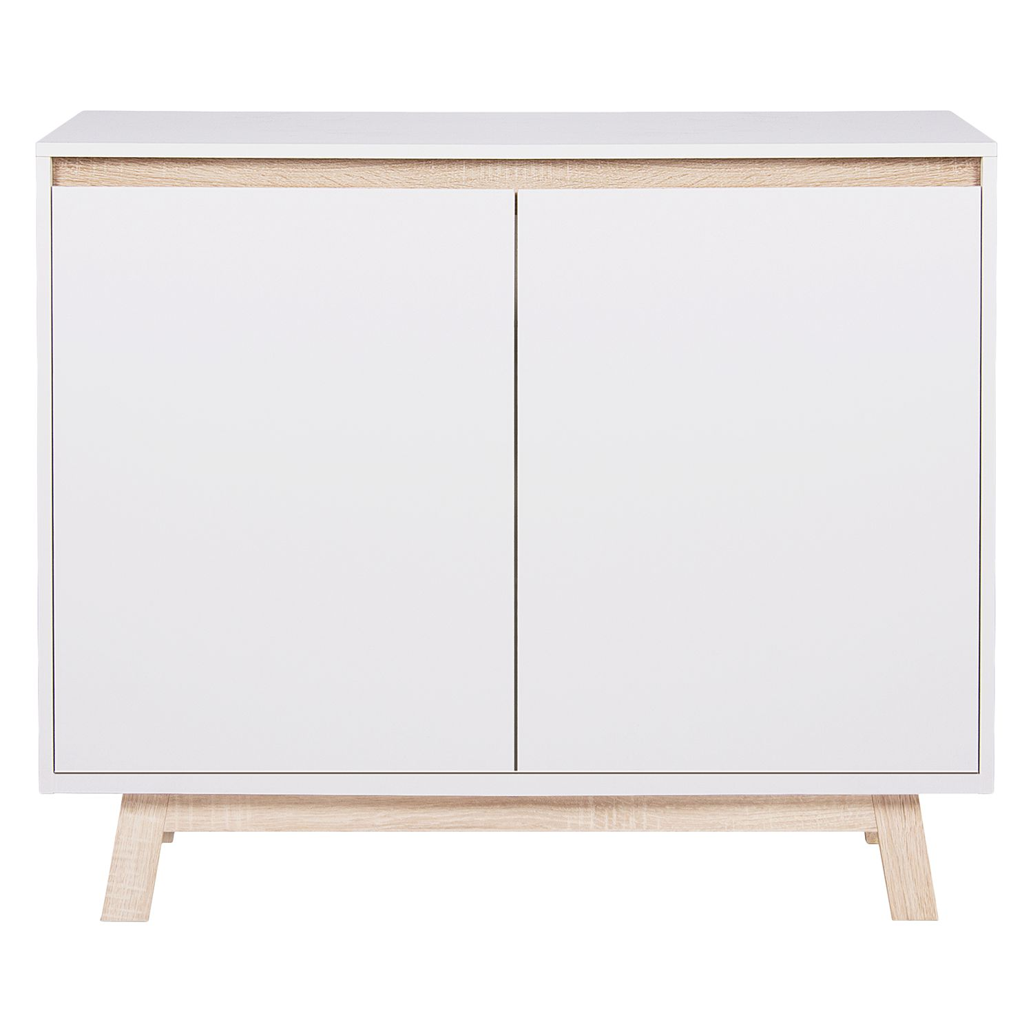 Commode Storberg I - Blanc mat / Imitation chêne Sonoma, mooved