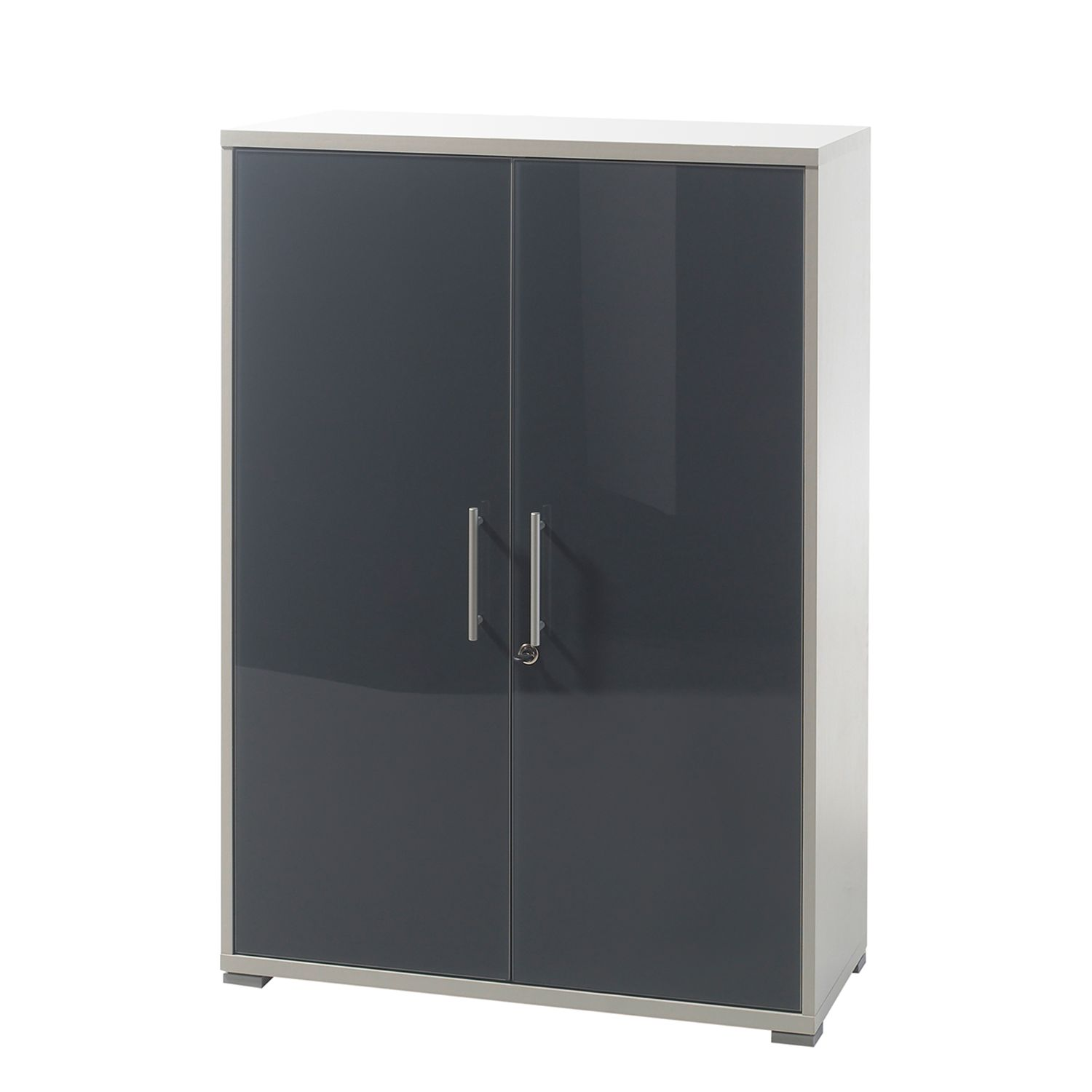 Armoire basse Tux - Graphite brillant / Gris clair, mooved
