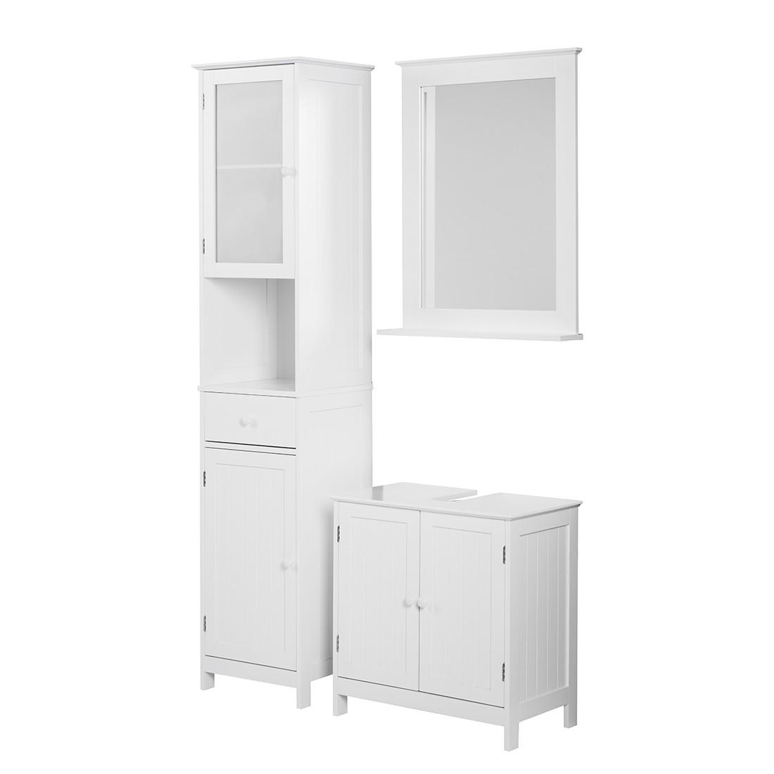 Ensemble Turin - Blanc - 3 éléments : meuble lavabo, armoire à miroir, armoire haute, California