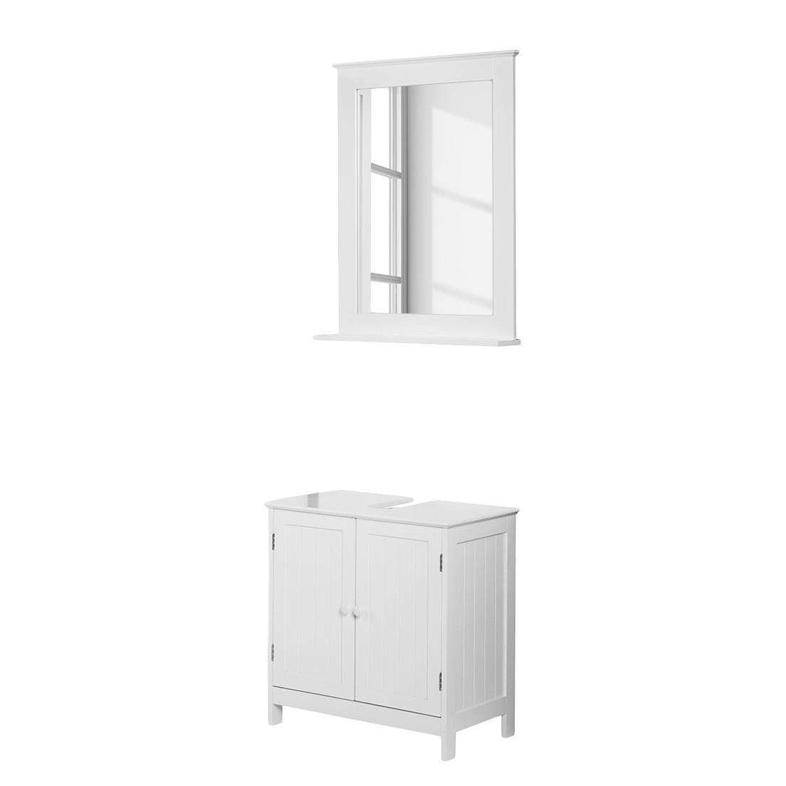 Ensemble Turin - Blanc - 2 éléments : meuble lavabo, armoire à miroir, California