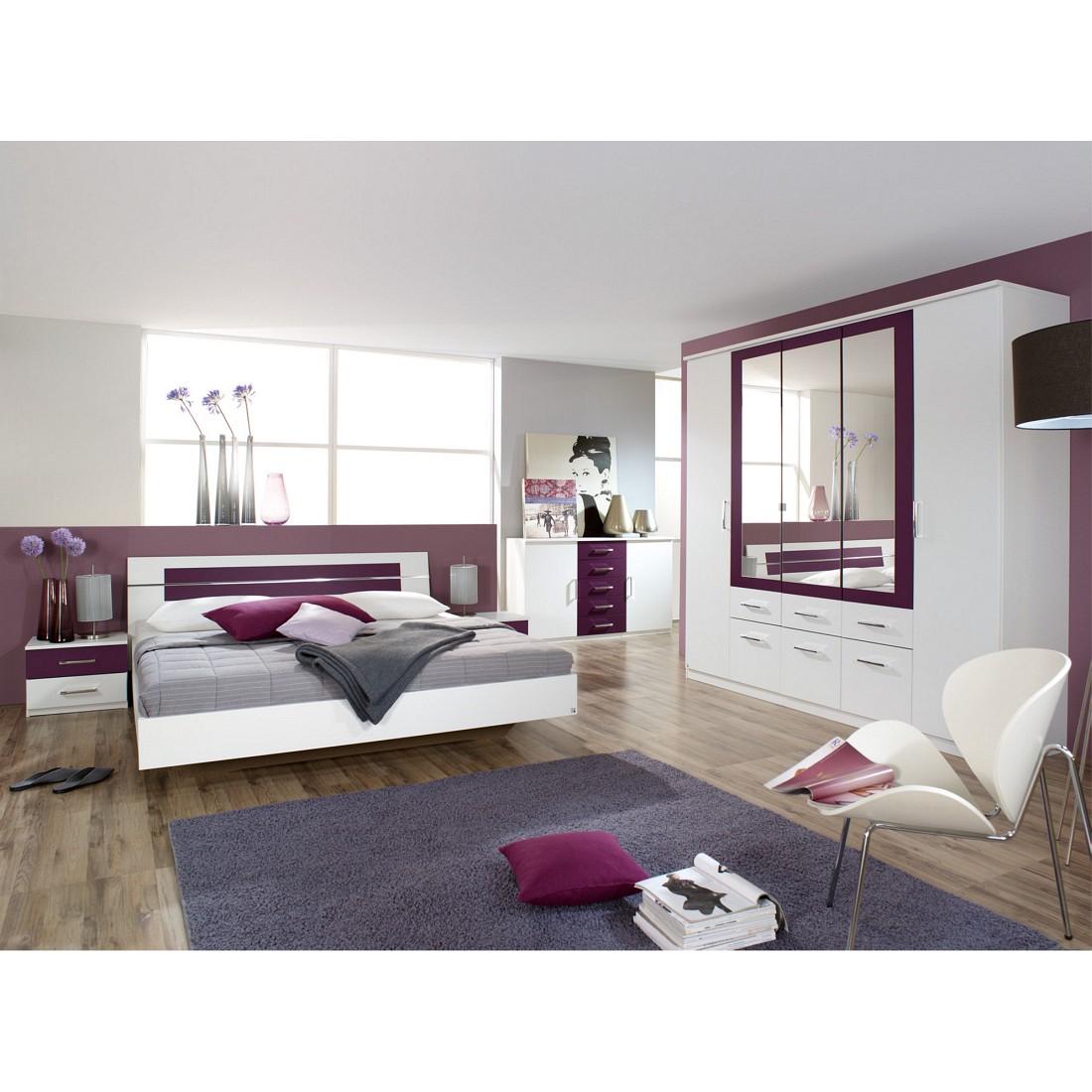 Ensemble de chambre à coucher Burano (4 éléments) Blanc alpin / Mûre - Avec lit 160 x 200 cm, Rauch