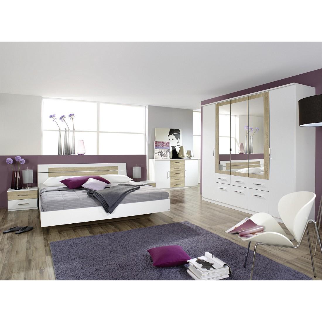 Ensemble de chambre à coucher Burano - Blanc alpin / Imitation chêne Sonoma Avec lit 180 x 200 cm, R